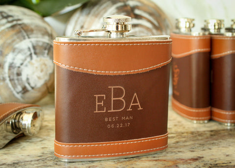 Flask in Two-Tone Brown Leather-personalized top shelf leather flask-EngraveMeThis