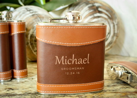 Leather Hip Flask-personalized top shelf leather flask-EngraveMeThis