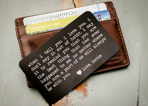 Black Wallet Insert Card-engraved wallet card father of the bride gift-EngraveMeThis