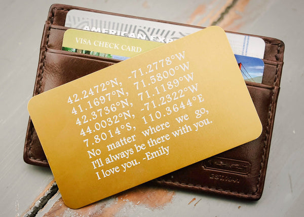 Gold Wallet Insert Card-engraved wallet card father of the bride gift-EngraveMeThis
