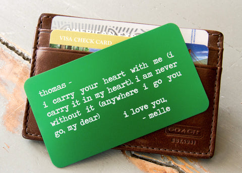 Green Wallet Insert Card-engraved wallet card father of the bride gift-EngraveMeThis