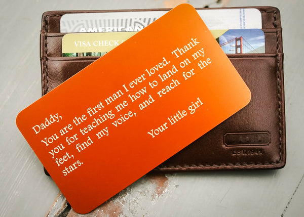 Orange Wallet Insert Card-engraved wallet card father of the bride gift-EngraveMeThis