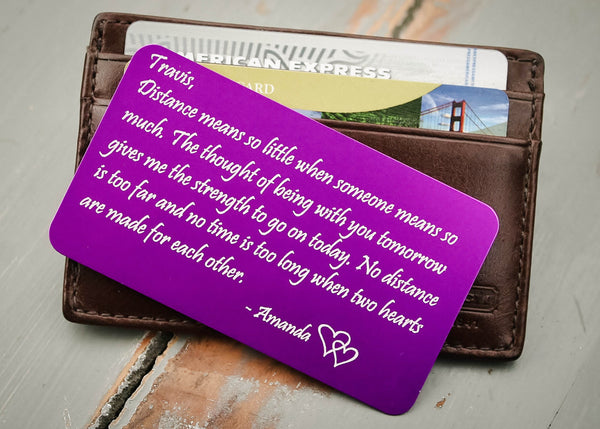 Purple Wallet Insert Card-engraved wallet card father of the bride gift-EngraveMeThis