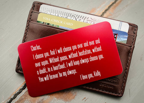 Red Wallet Insert Card-engraved wallet card father of the bride gift-EngraveMeThis
