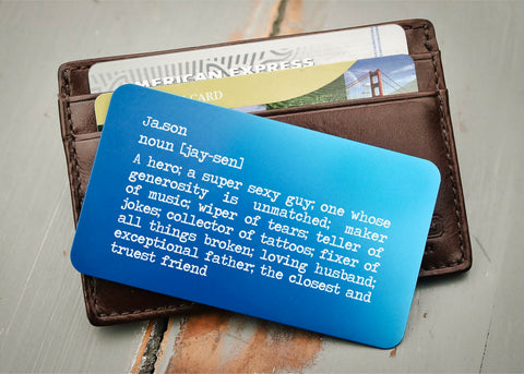 Blue Wallet Insert Card