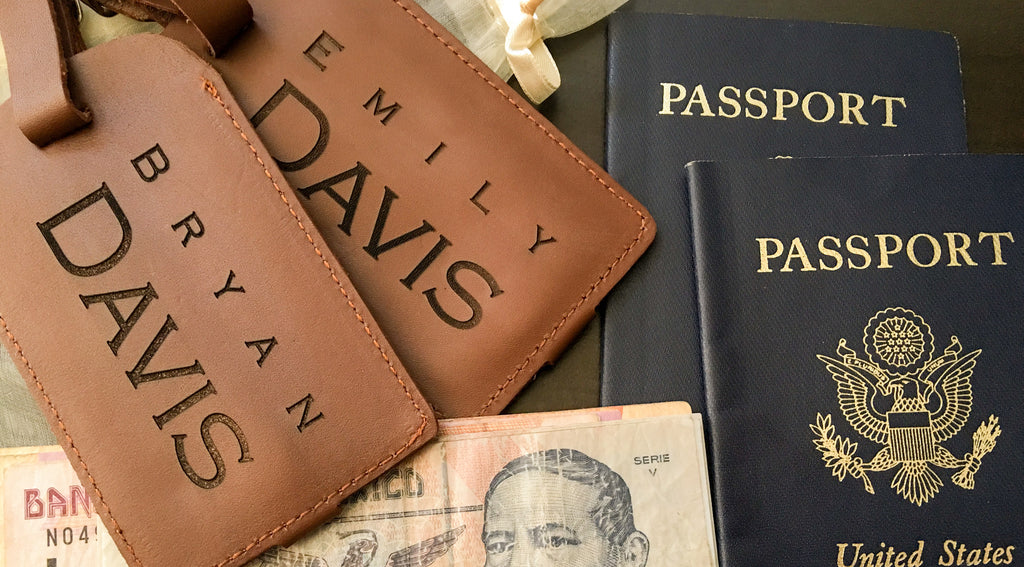 monogrammed leather luggage tags and passport cases