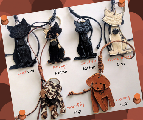 cats and dogs handbag accessories, charms, keychains, pet love