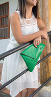 Elegancia, Emerald Green Envelope Clutch, Trapezoid Contour, 100% Leather - TheMakerWorld