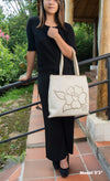 Flor Flair, Ivory & Gold Tote, 100% Leather - TheMakerWorld