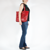 "Lady in Red-Leaves Tote w/13"" Laptop Sleeve, Large Handmade Handbag, All-Season - TheMakerWorld"