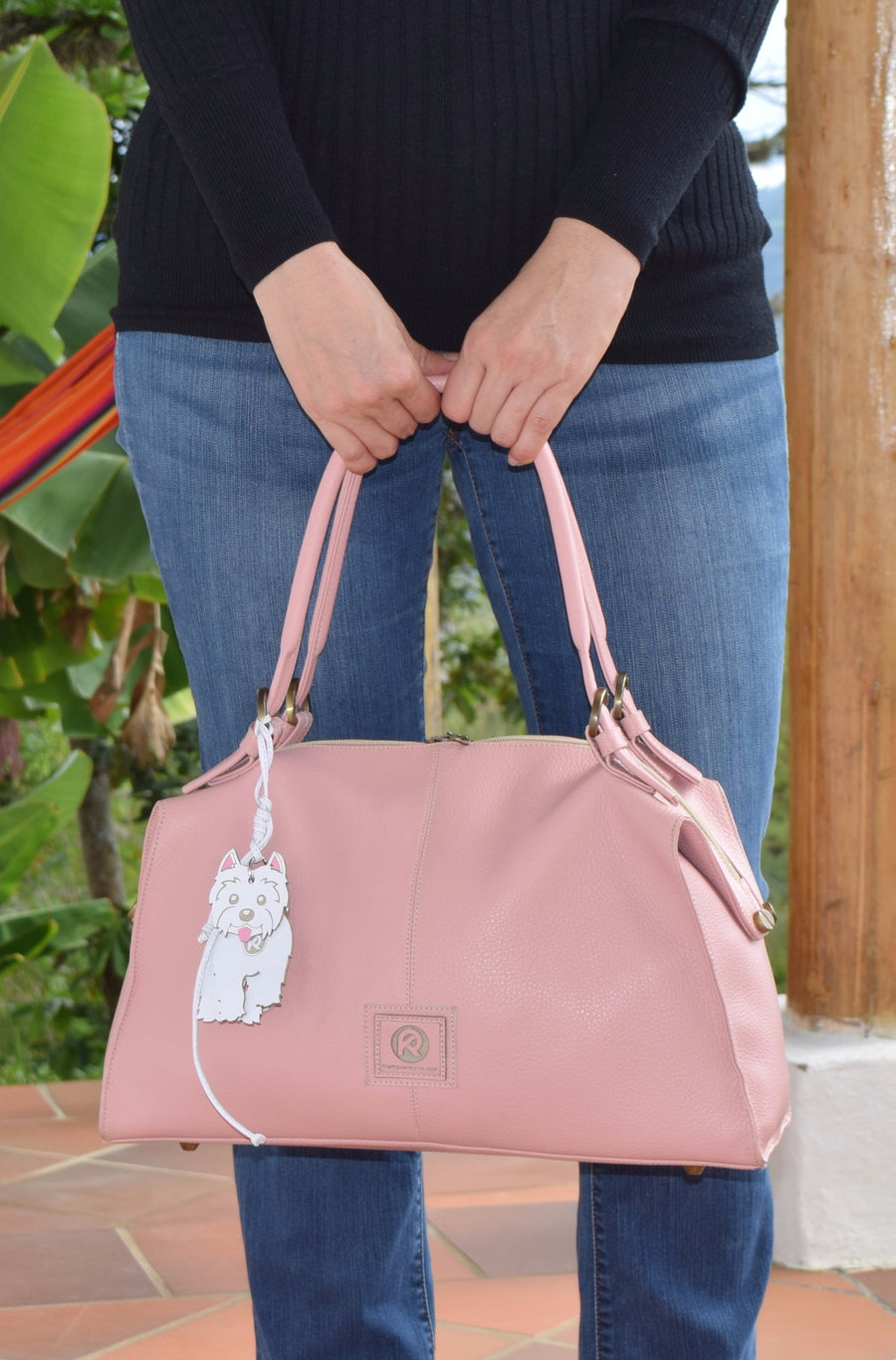 Pink Chameleon Duffle-Style, Satchel Handbag, Interchangeable Handles Included, 100% Leather - Handbag Charms handbag - Handbag TheMakerWorld TheMakerWorld