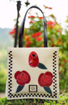 Rose Flurries, Ivory, Red & Black, Square Tote, 100% Leather - Handbag Charms  - Handbag TheMakerWorld TheMakerWorld