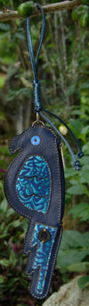 Blue Parrot Coin Purse & Credit Card Holder  | Leather Accessory and Keychain
