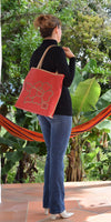 Flor Flair, Red & Gold Tote, 100% Leather - TheMakerWorld