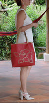 Flor Flair, Red & Gold Tote, 100% Leather - Handbag Charms  - Handbag TheMakerWorld TheMakerWorld