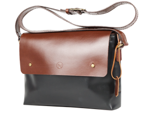 Black & Chocolate Marteen Messenger Bag - Limited Edition - Handbag Charms Leather Bag - Handbag THEMAKERWORLD TheMakerWorld