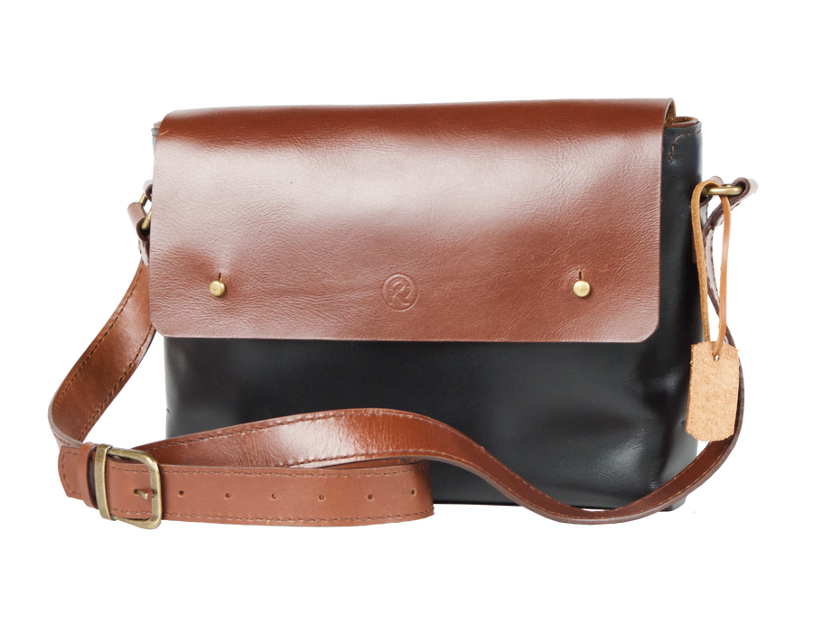Marteen Messenger bag in Black & Chocolate, Handmade in Leather, Strap Adjusts, Crossbody - Limited Edition - Handbag Charms Leather Bag - Handbag TheMakerWorld TheMakerWorld