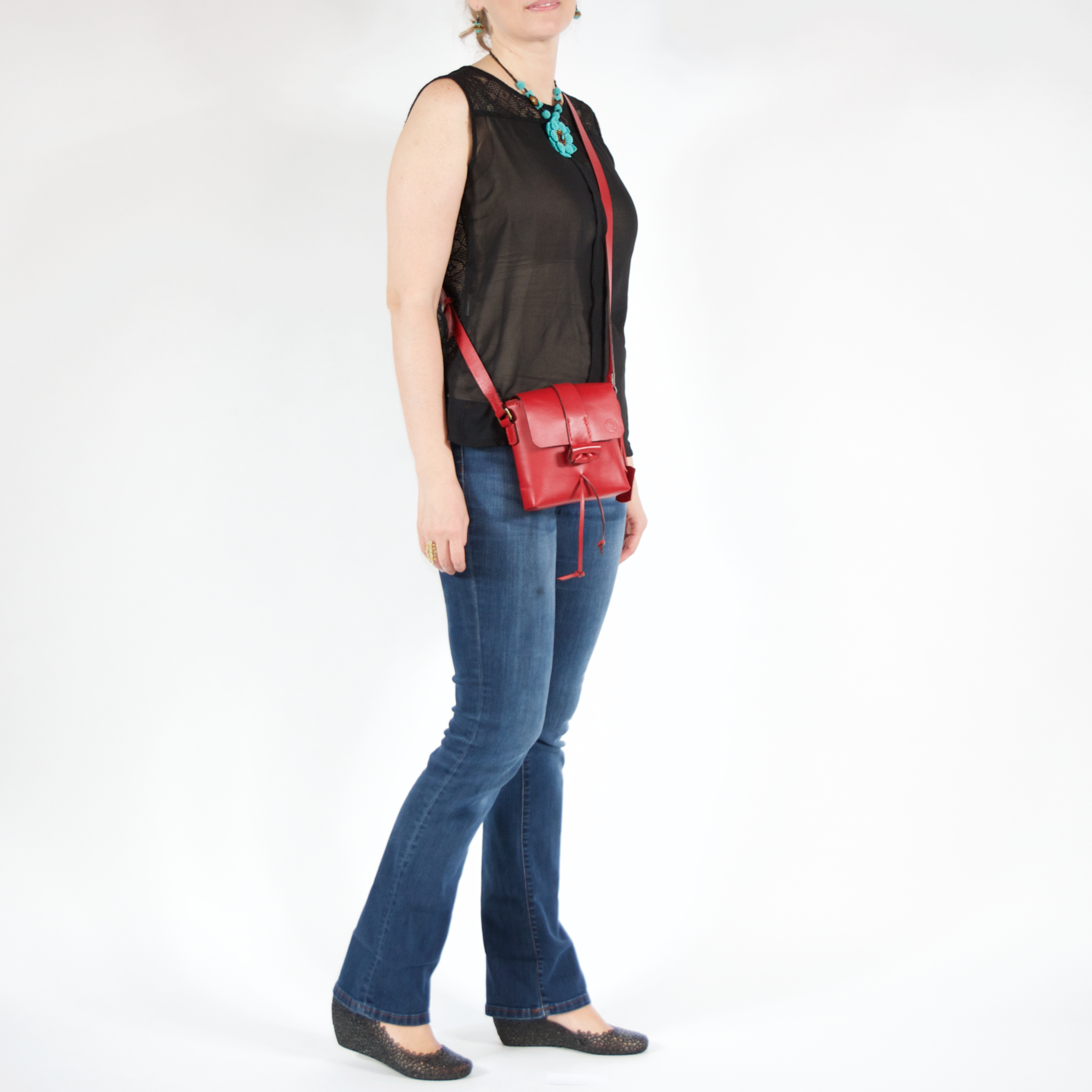 Nimble Mini Saddle in Luscious Red, Small Crossbody Handmade Purse, Fine Leather, Handsfree - Limited Edition - Handbag Charms Leather Bag - Handbag TheMakerWorld TheMakerWorld