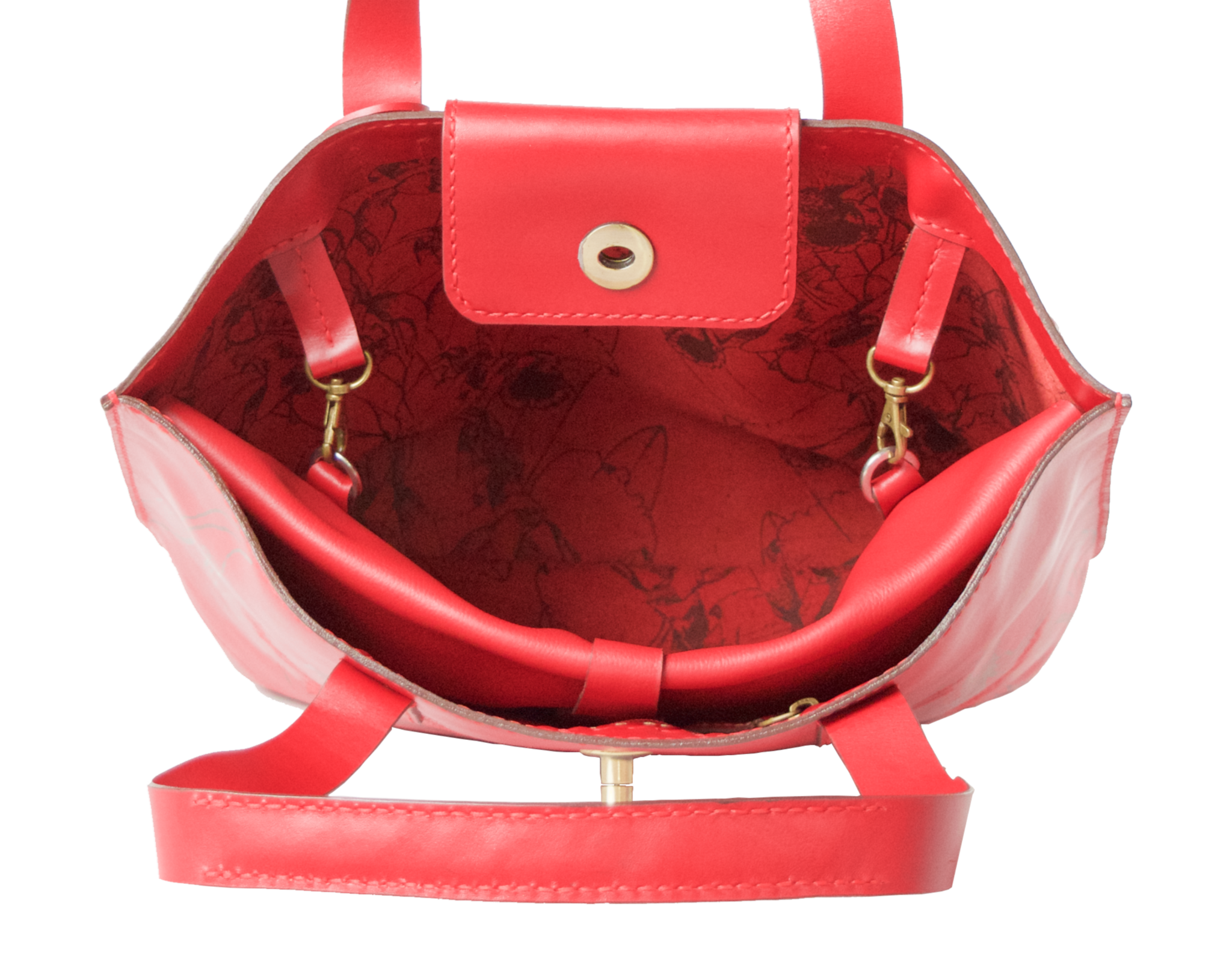Lady in Red Tote Bag - Limited Edition - Handbag Charms Leather Bag - Handbag THEMAKERWORLD TheMakerWorld