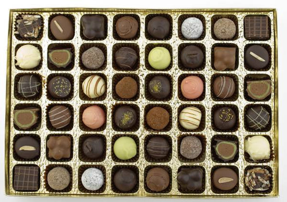 Gift box with 48 luxury handmade chocolates and pralines