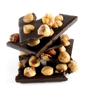 Dark chocolate bar with whole hazelnuts