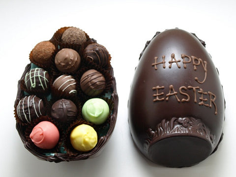 Dark chocolate half egg with truffles