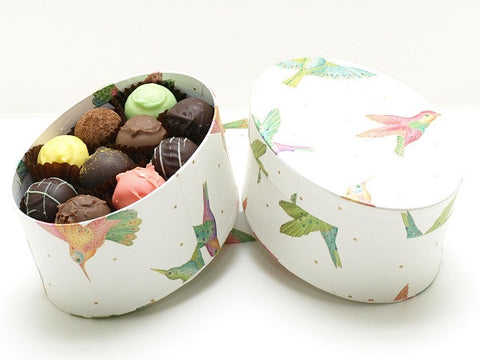 Easter Oval gift box containing 20 luxury handmade chocolate truffles