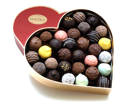 Heart box filled with 31 chocolate truffles