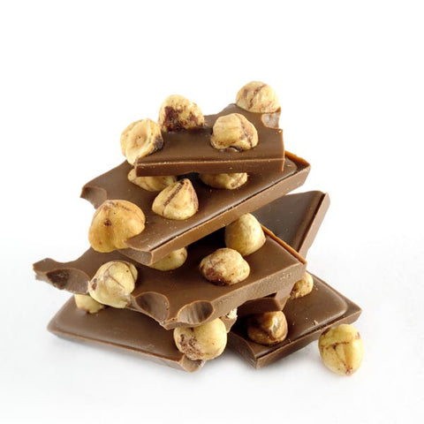 Milk chocolate bar with whole hazelnuts