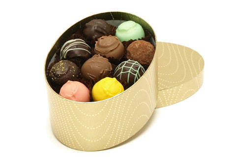 Oval gift box containing 20 luxury handmade chocolate truffles