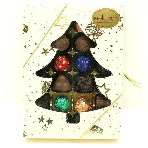 24 Truffles and Pralines in a Christmas Tree Box