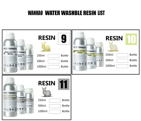Wanhao UV Cure 3D Printer Water Washable Resin 500ml/1L (1000ml)
