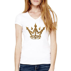 LEOPARD CROWN V-NECK - Womens T-Shirt