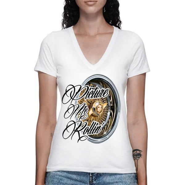 PICTURE ME ROLLIN' V-NECK - S / White - Womens T-Shirt