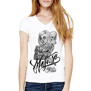 SKULLY 2 V-NECK - Womens T-Shirt