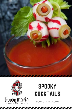 Happy Halloween to all you ghosts and goblins out there! We hope you are feeling FESTIVE - and ready to PARTY! We have created recipes with Bloody Maria mix. A VAMPIRE inspired recipe with tequila, and a fun Halloween garnish Happy Haunting!!