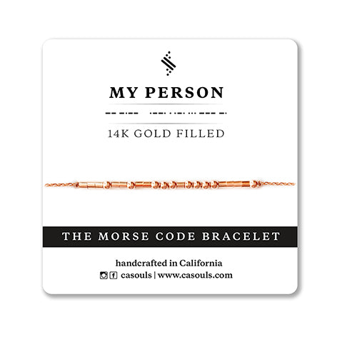 MY PERSON Morse code bracelet in gold filled