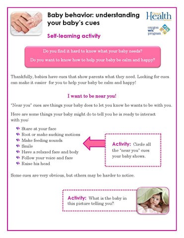 Understanding your baby's cues - self-paced lesson (download from link below)
