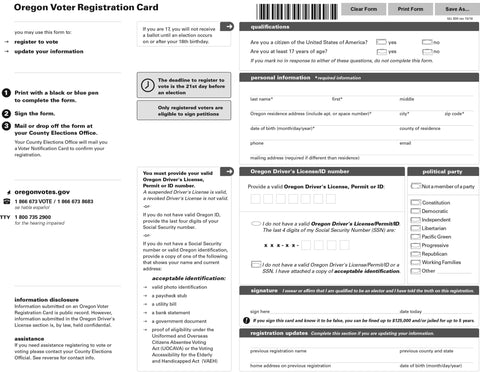 Oregon Voter Registration Card  Oregon Wic