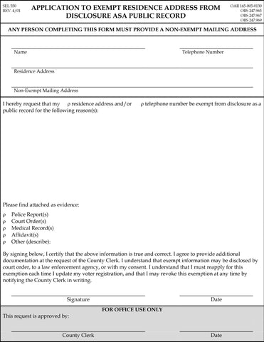 Application to exempt residence address from disclosure as a public record (download from link below)