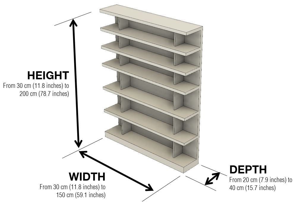 Flexibly Bookcase Dimensions and Configuration Options - 1x1 Modern Flexibly Bookcase – 1x1 Modern Custom Furniture