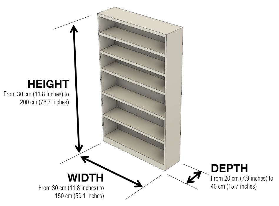 Flexibly bookcase dimensions by 1x1 Modern, custom-made and made-to-measure