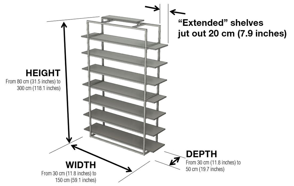 Highly bookcase dimensions by 1x1 Modern, custom-made and made-to-measure