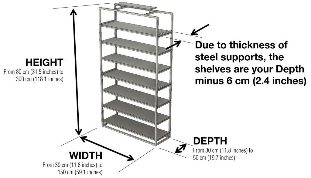 Highly bookcase dimension with Enclosed sides by 1x1 Modern, custom-made and made-to-measure