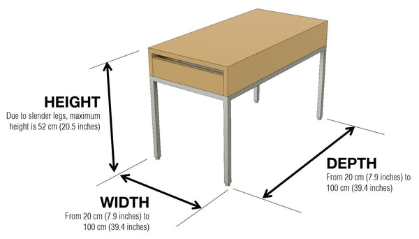 Initially Side Table Dimensions by 1x1 Modern, custom-made and made-to-measure