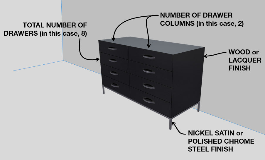 Squarely dresser configuration options by 1x1 Modern Custom Furniture, custom-made and made-to-measure
