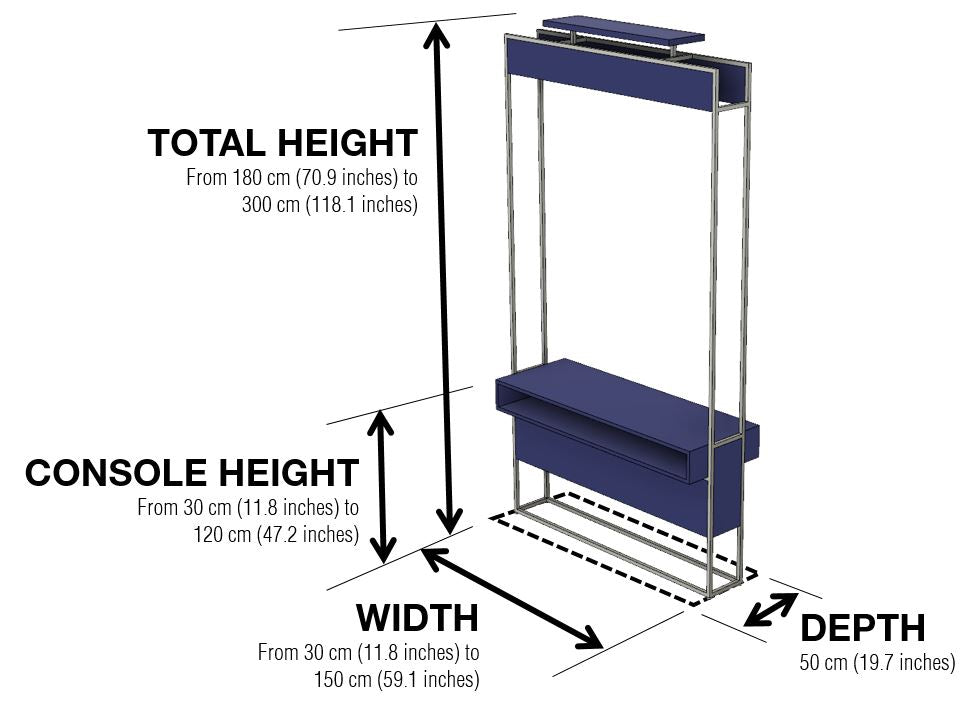 Vertically Console Dimensions and Configuration Options