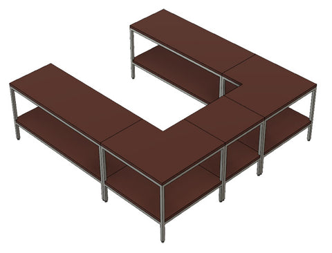 Warmly sofa table in a U configuration by 1x1 Modern Custom Furniture, custom-made and made-to-measure