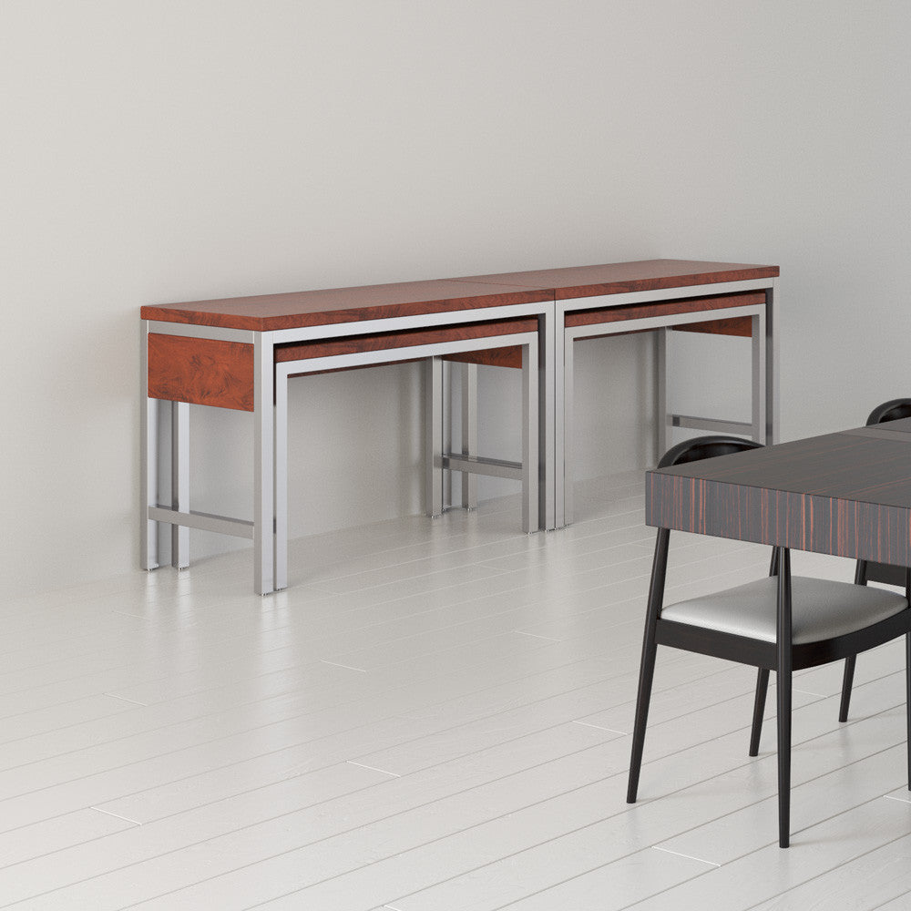 Two Extensively buffets by 1x1 Modern Custom Furniture in a modern dining room, custom-made and made-to-measure