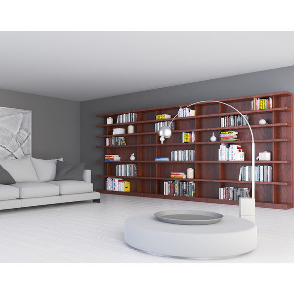 Flexibly bookcase by 1x1 Modern Custom Furniture in a modern living room, custom-made and made-to-measure